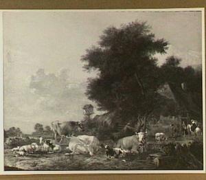 Weide met vee; rechts reizigers voor een boerderij