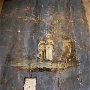 Twee vrouwen op een zwevend plateau omgeven door een trompe l'oeil omlijsting