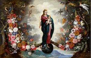 Gekroonde Madonna met kind, staand op de wereldbol, omringd door vogels en bloemenslingers