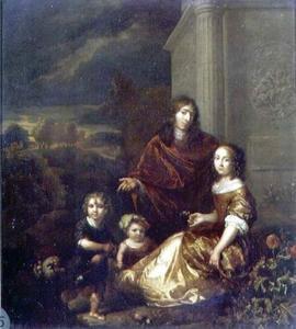 Zelfportret met vrouw en kinderen