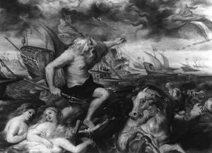 Neptunus kalmeert de oceaan tijdens de reis van de kardinaal-infant Ferdinand van Barcelona naar Genua