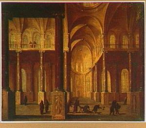 Kerkinterieur met Christus die de geldwisselaars uit de tempel drijft