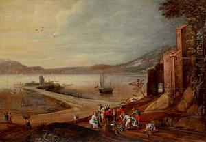 Landschap met een haven en de verkoop van vis