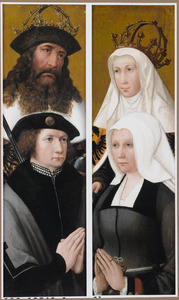 Portret van een stichter met zijn patroonheilige (links), portret van een stichtster met haar patroonheilige (rechts)