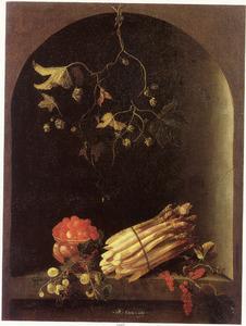 Stilleven met vruchten en asperges in een nis