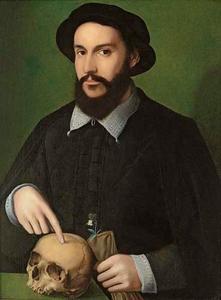 Portret van een man in het zwart gekleed met witte kraag en manchetten met schedel, handschoen en viooltje in hand