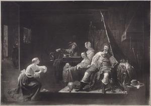 Smekende vrouw bij een legeraanvoerder in een wachtlokaal