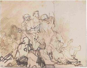 """Studie voor een figuurgroep in de """"Honderd Gulden prent"""""""