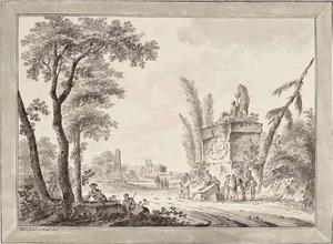 Landschap met klassieke ruïnes en figuren