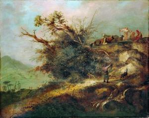 Berglandschap met een jager, herders en rustend vee