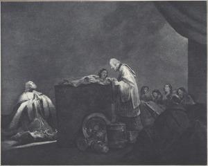 David draagt de oorlogsbuit op in de tempel (?) (1 Kronieken 18:11)