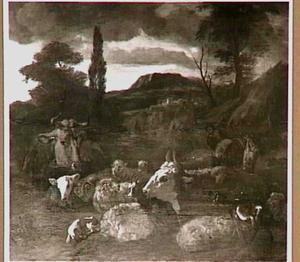 Rustend vee in Italiaans landschap