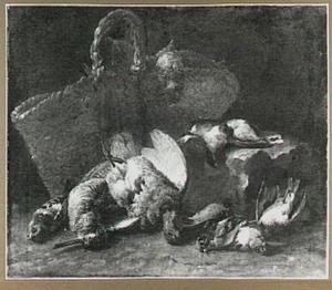 Stilleven van gevogelte naast een rieten mand