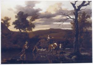 Landschap met door water wadende herder en zijn dieren, daarachter een boerenkar