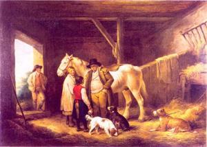 De afrekening: een boer, de staljongen en de kelner van en herberg