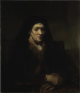 Zittende oude vrouw met gevouwen handen