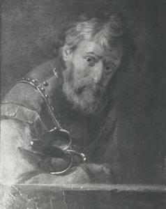 Portret van een man met borstkuras en degen