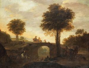 Italianiserend landschap met ruiters en reizigers bij een brug