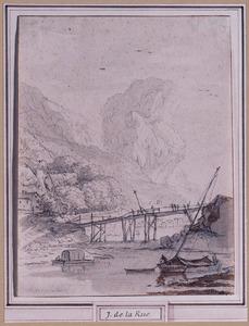 Berglandschap met houten burg over rivier