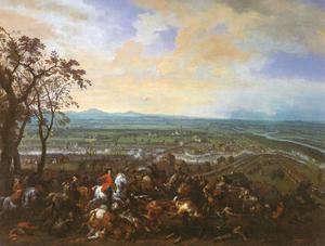 De slag bij Luzzara, 15 augustus 1702: prins Eugenius van Savoye in gevecht met het Franse leger onder maarschalk Louis Joseph, duc de Vendôme bij de rivier Po nabij Luzzara