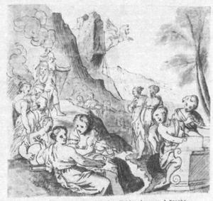 Pallas Athene  bezoekt de Muzen op de berg Helicon om de fontein Hippocrene te zien, welke Pegasus zojuist heeft voortgebracht