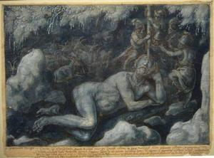 Odysseus en zijn gezellen verblinden de slapende cycloop Polyphemus