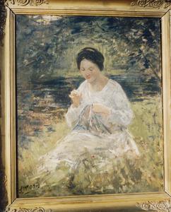 Vrouw met naaiwerk in een tuin