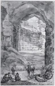 Klassiek ruïne (het Colloseum?) met herders en vee
