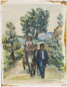 Echtpaar met ezelskarretje in de Provence