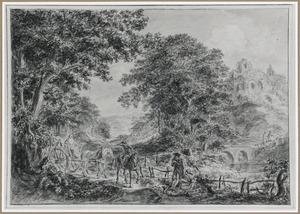 Paard en wagen in boomrijk heuvellandschap met rivier en ruïne