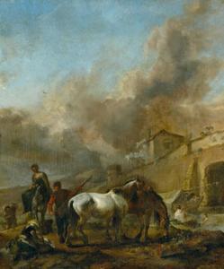 Figuren en paarden bij een rivier, een dorp in de achtergrond