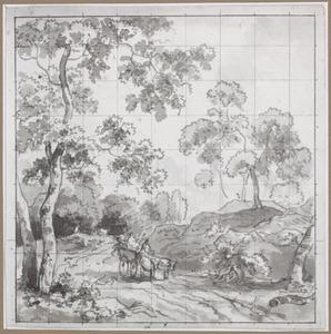 Ontwerp voor een behangselvlak met een ossenwagen op weg in een heuvellandschap