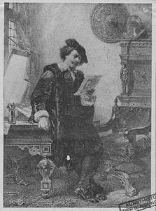 Rembrandt in zijn atelier, een ets bekijkende