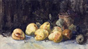 Stilleven met vruchten en aarden pot