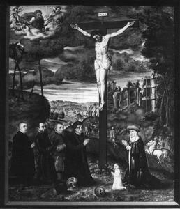 De kruisiging met portretten van leden van de familie Oehm