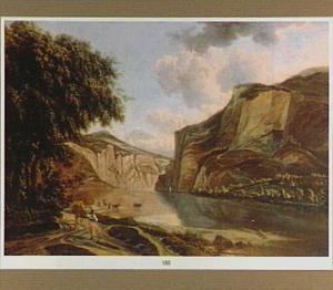 Zuidelijk berglandschap met herderin