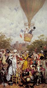 Zwaaiende menigte bij een opstijgende luchtballon