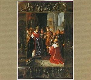 De kleding van de H. Maagd wordt getoond aan Keizer Karel V. In het kader scènes uit haar leven