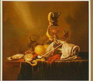 Stilleven met een bekerschroef, een roemer, een beker, schaaldieren en vruchten