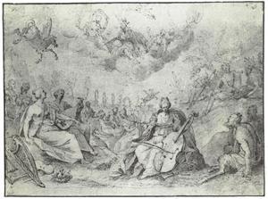 Minerva bezoekt de Muzen op de berg Helicon, waar Pegasus zojuist de fontein Hippocrene heeft doen ontspruiten