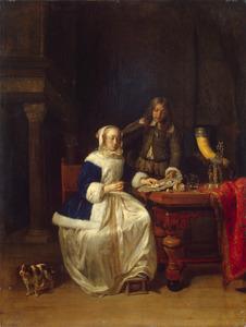 Jonge man die een jonge vrouw oesters aanbiedt