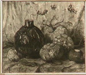 Stilleven van pompoenen en een vaas
