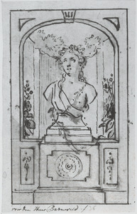 Ontwerp voor een wanddecoratie met een buste van Flora