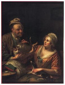 Interieur met een man met een poes in zijn armen en een vrouw met een hond op schoot