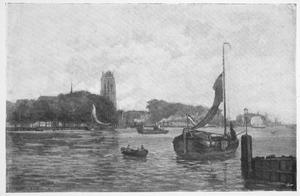 Zicht op Dordrecht met kade en Grote Kerk