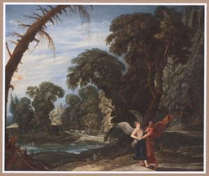 Boslandschap met Jakob worstelend met de engel (Genesis 32:23-32)