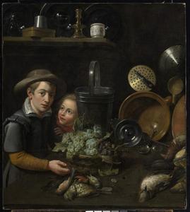 Keukenstilleven met twee kinderen