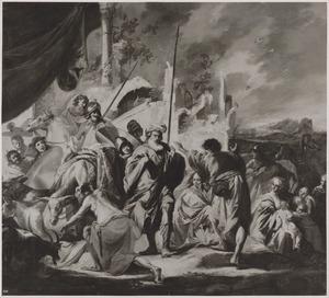 De verzoening tussen Jacob en Esau: Esau snelt Jacob tegemoet en omhelst hem  (Genesis 33:3-4)