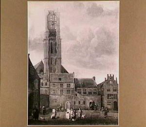 St. Michaelskerk te Zwolle, gezien vanaf de Ossenmarkt met de in 1682 deels ingestorte toren