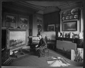 Jan Hillebrand Wijsmuller in zijn atelier, Overtoom 189, Amsterdam